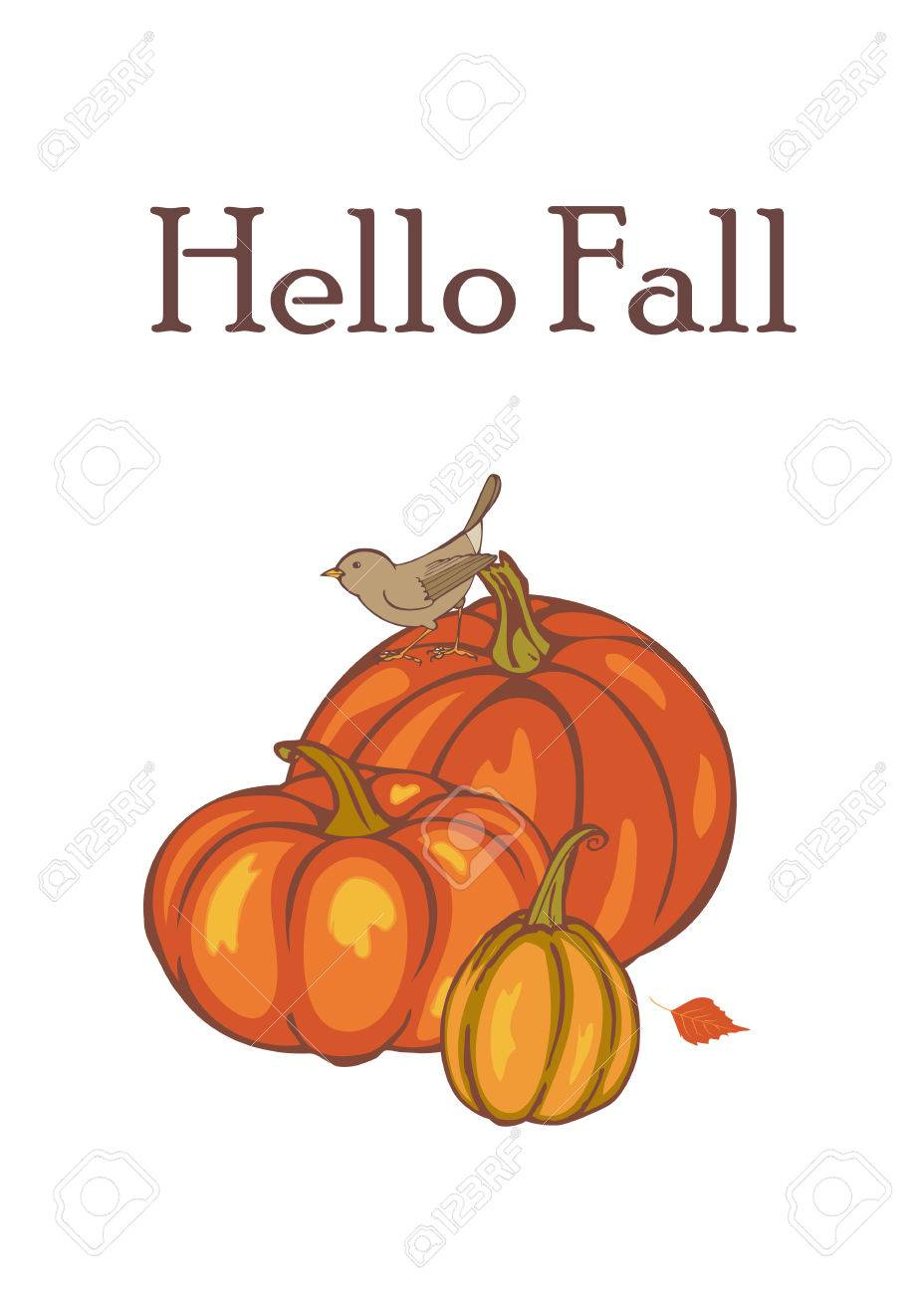 High Quality Hello Fall, Autumn Pumpkin Harvest, Template For Advertising, Greeting Cards,  Invitations,