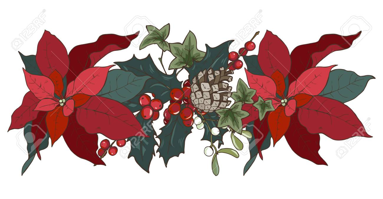 Composition Of Christmas Plants Poinsettia Holly Cones Ivy