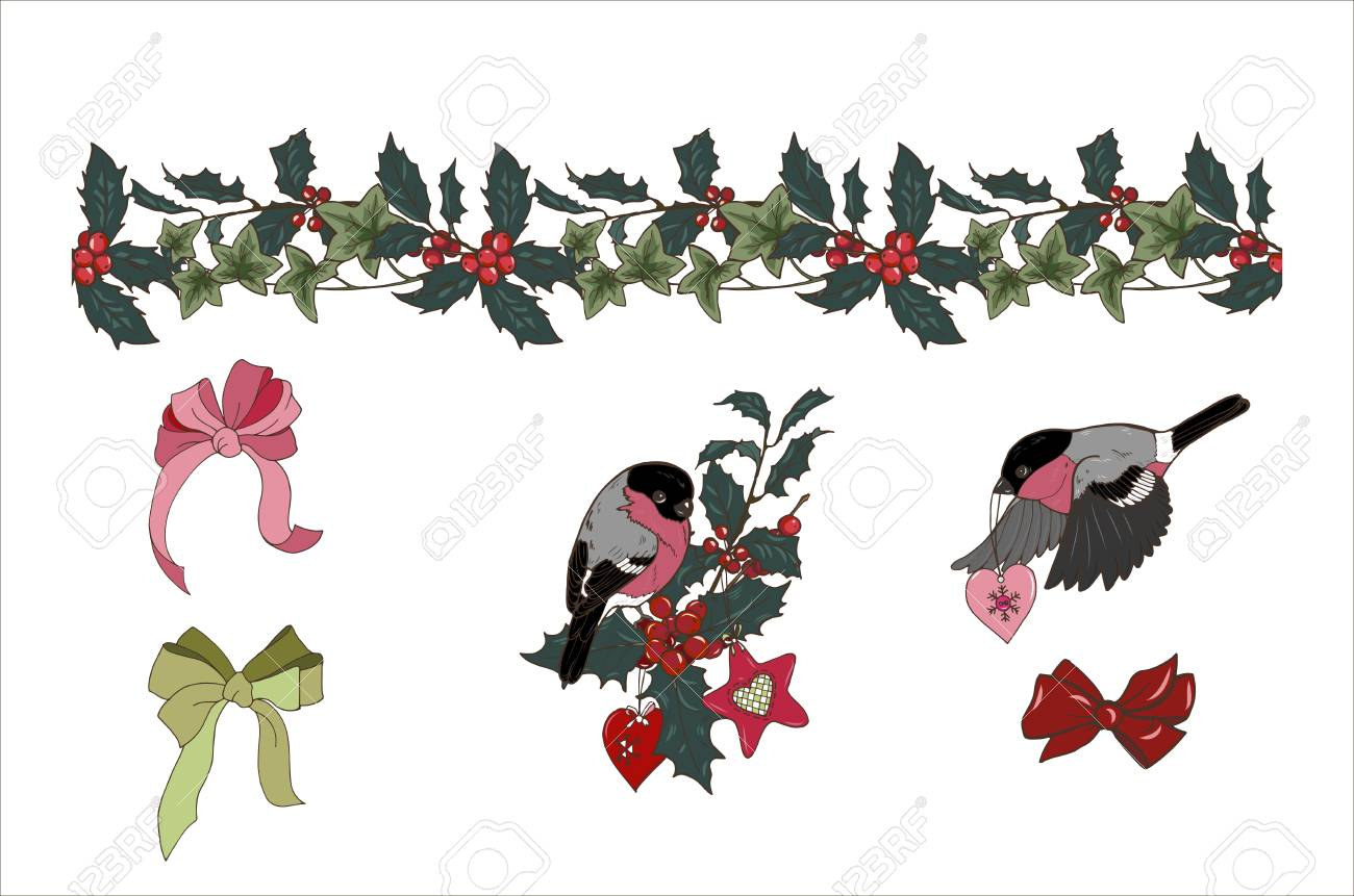 Seamless Holly And Ivy Brush Composition Of Christmas Plants