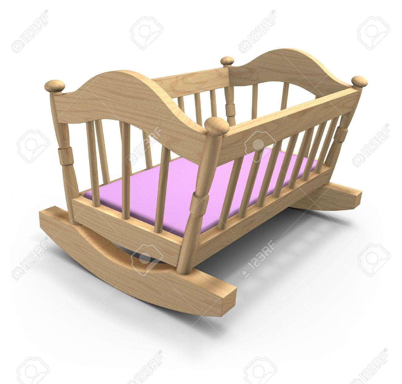 Baby cribs and cradles - Stock Photo Wooden Cradle