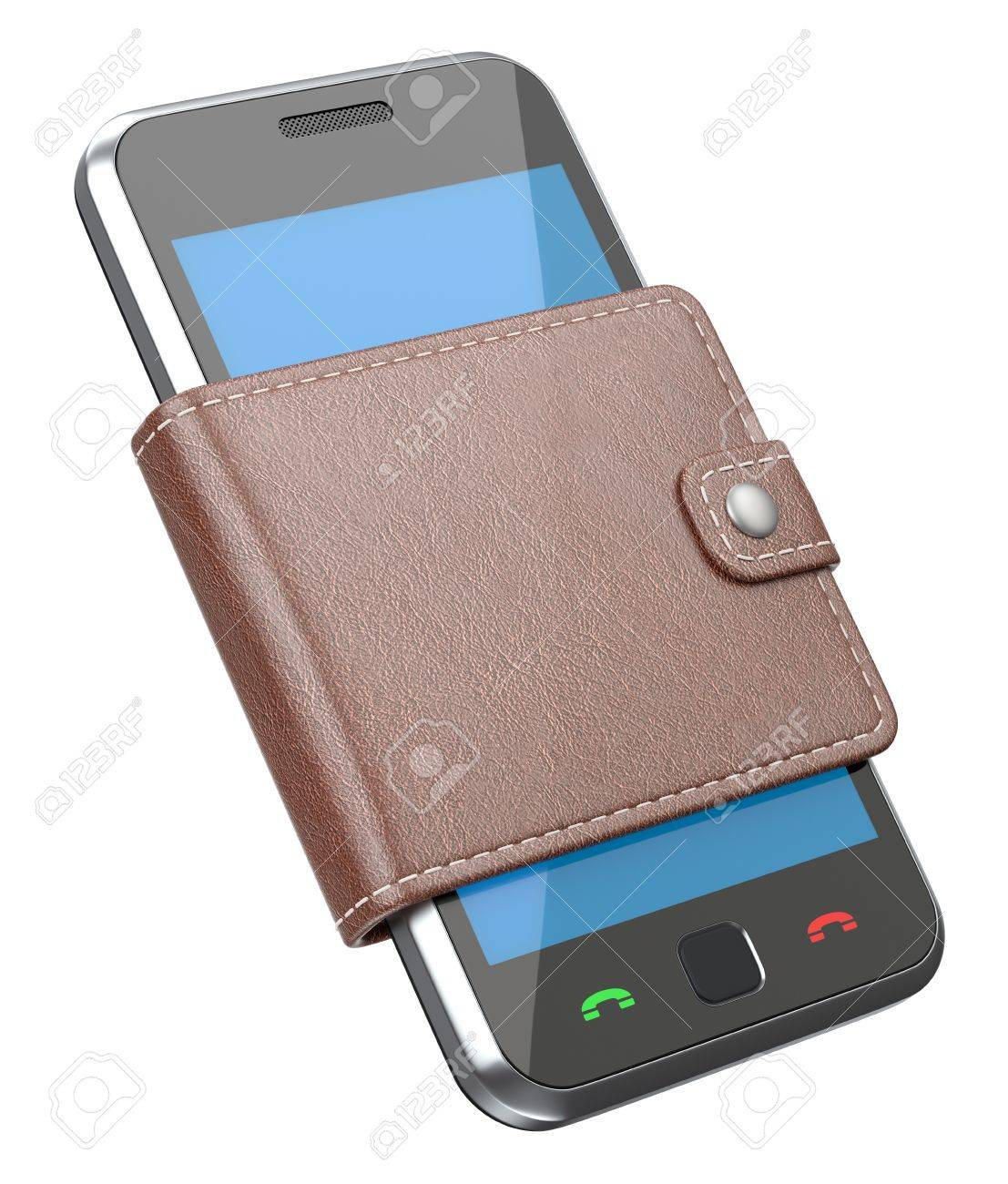 Mobile phone in the wallet Stock Photo - 12000630