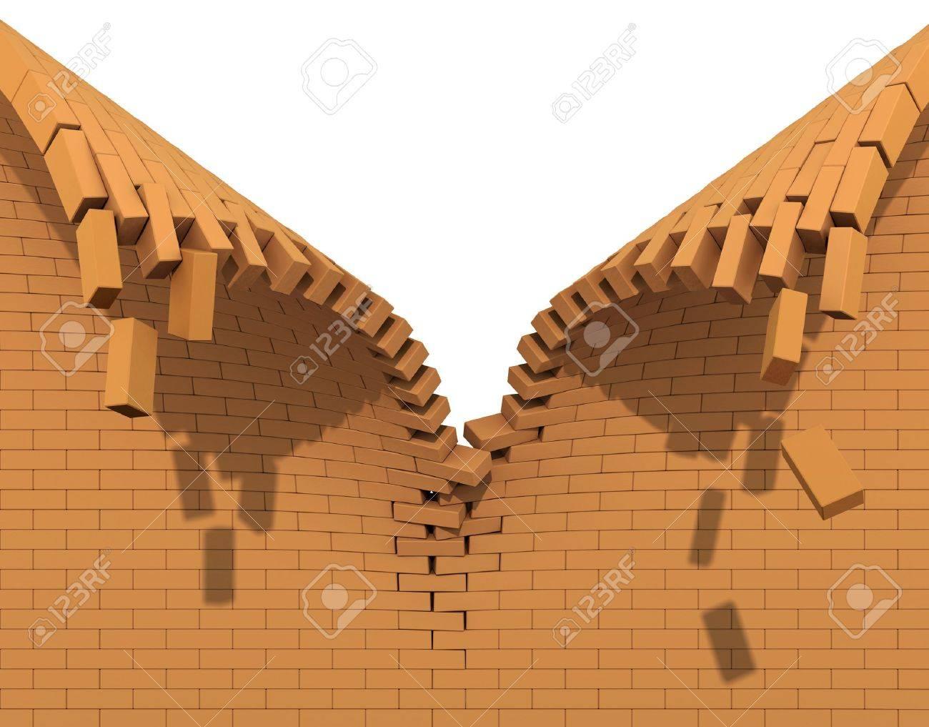 Destruction of a red brick wall - 12748693