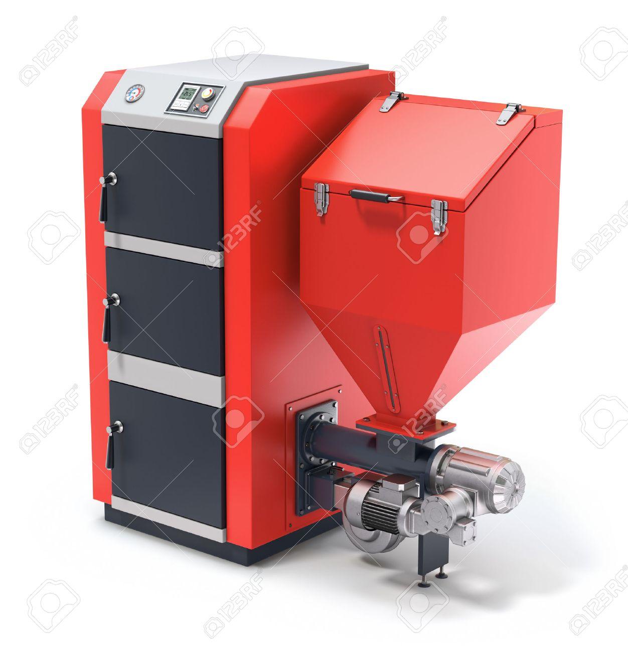 Wood Pellet Boiler >> Wood Pellet Boiler With Fuel Hooper And Feeding System Stock Photo