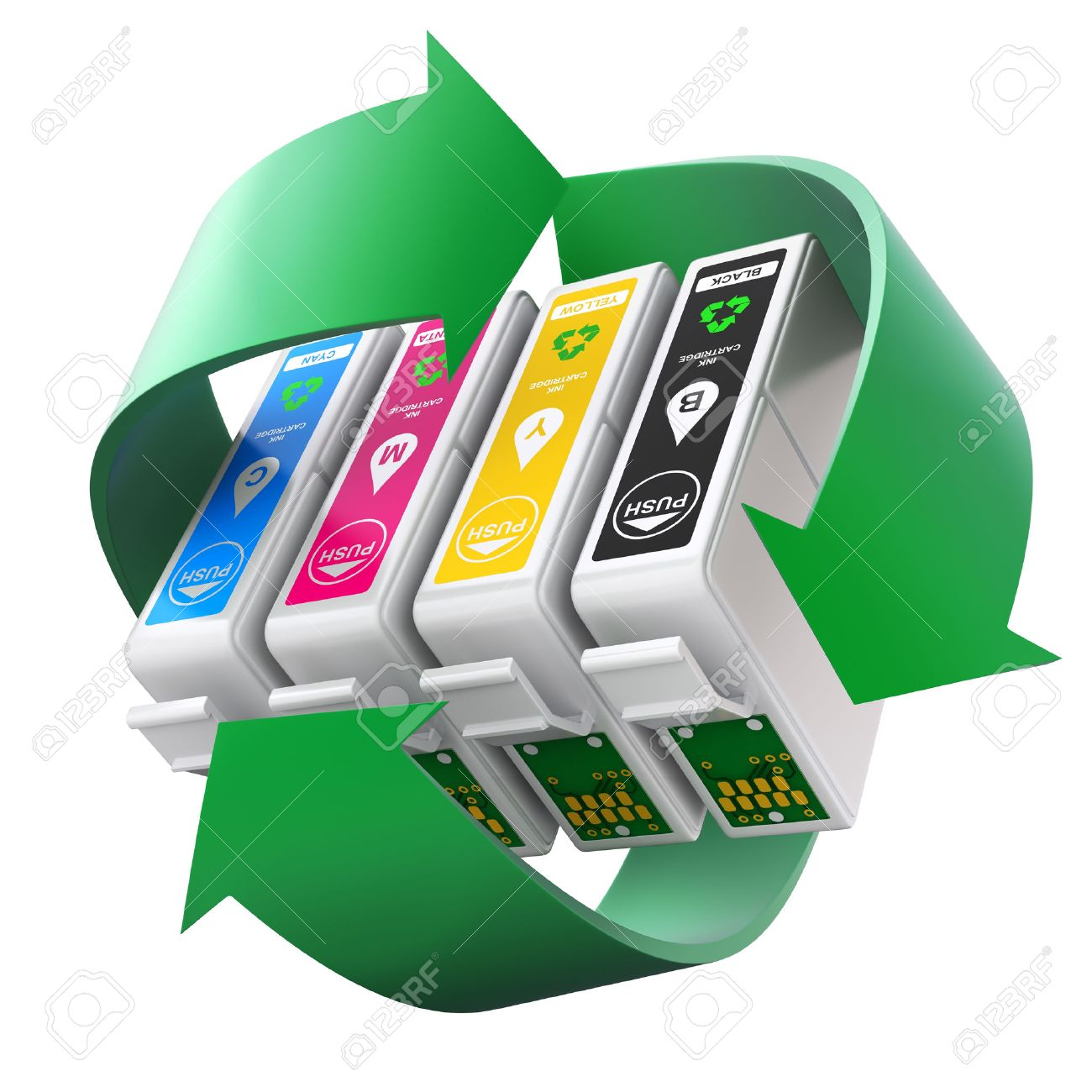 CMYK set of cartridges with recycling symbol - 54103769