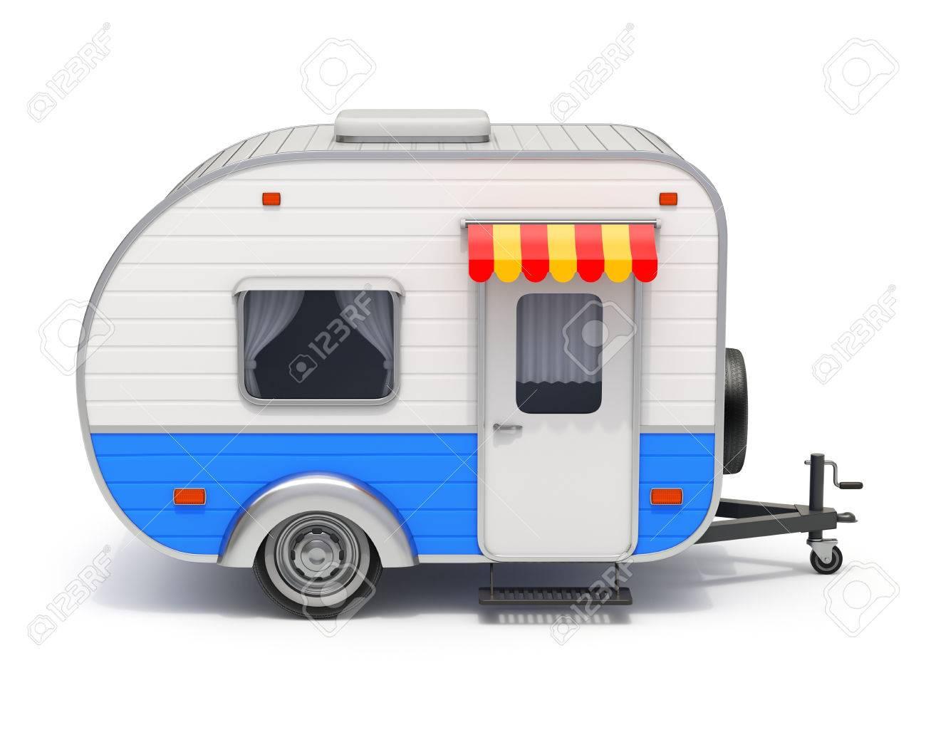 RV Wohnmobil Anhänger auf weißem Hintergrund - 10D-Darstellung