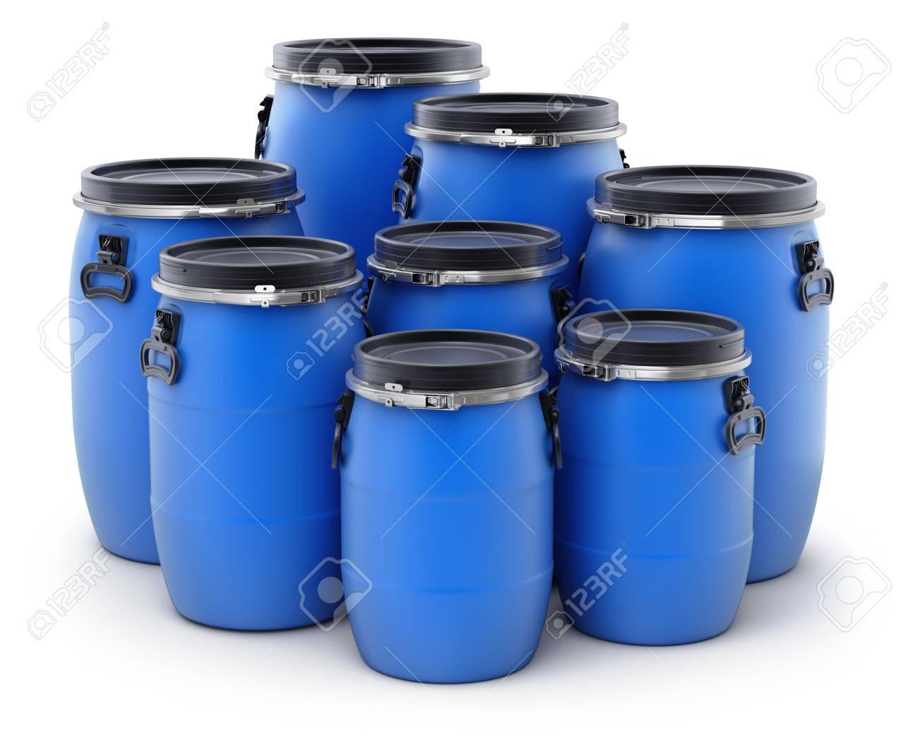 Blue Plastic Storage Barrels On White Background 3d Illustration