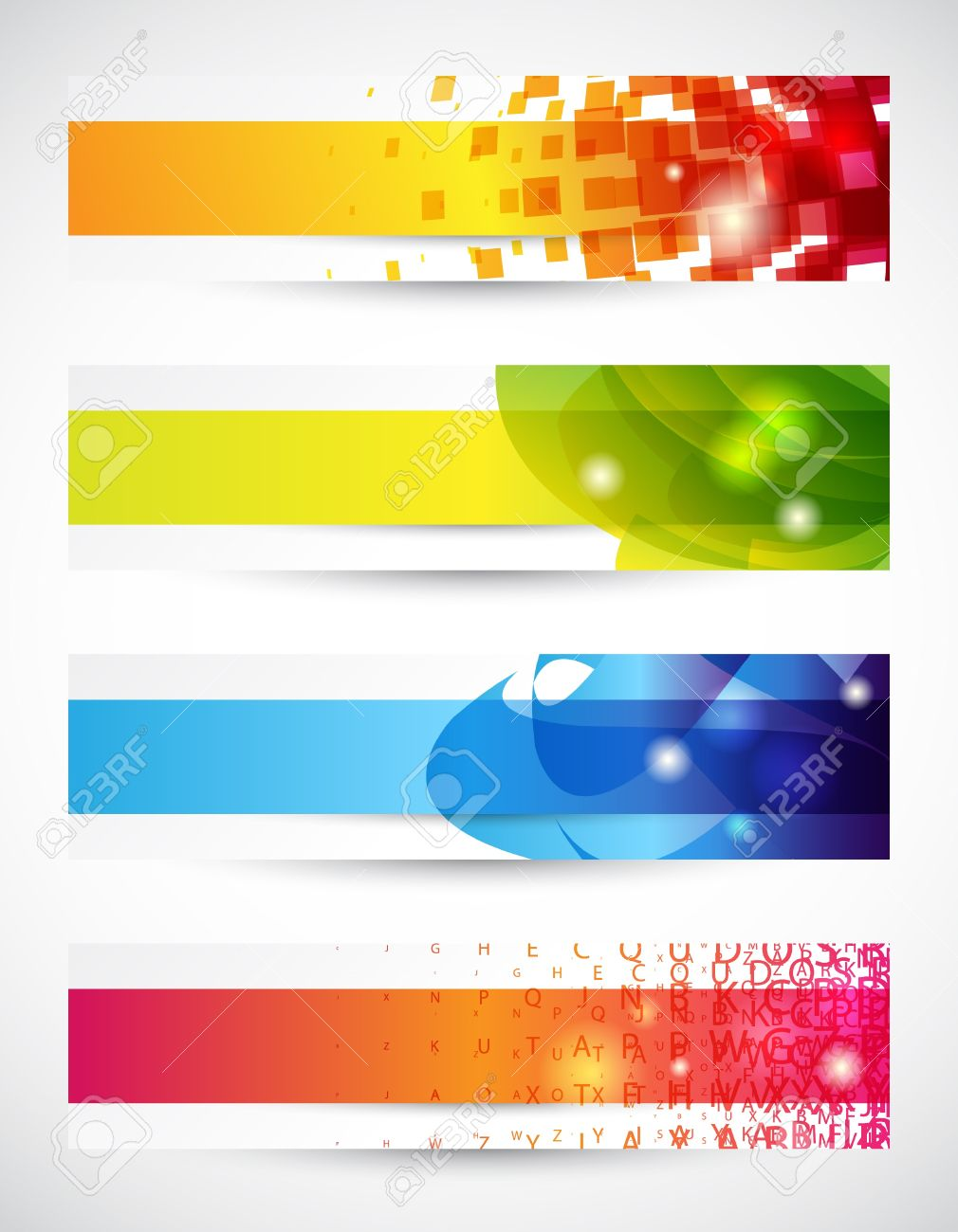 Set of four headers or banners with copy space Stock Vector - 9455753