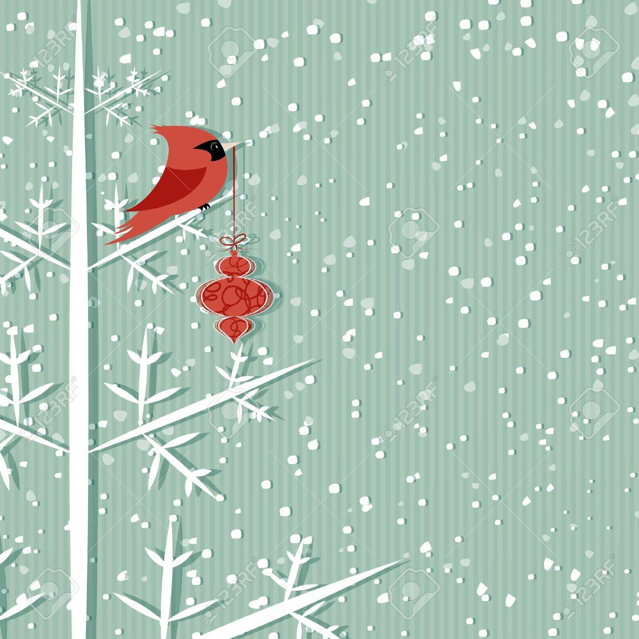 Winter Background With Red Cardinal Holding Christmas Decoration ...