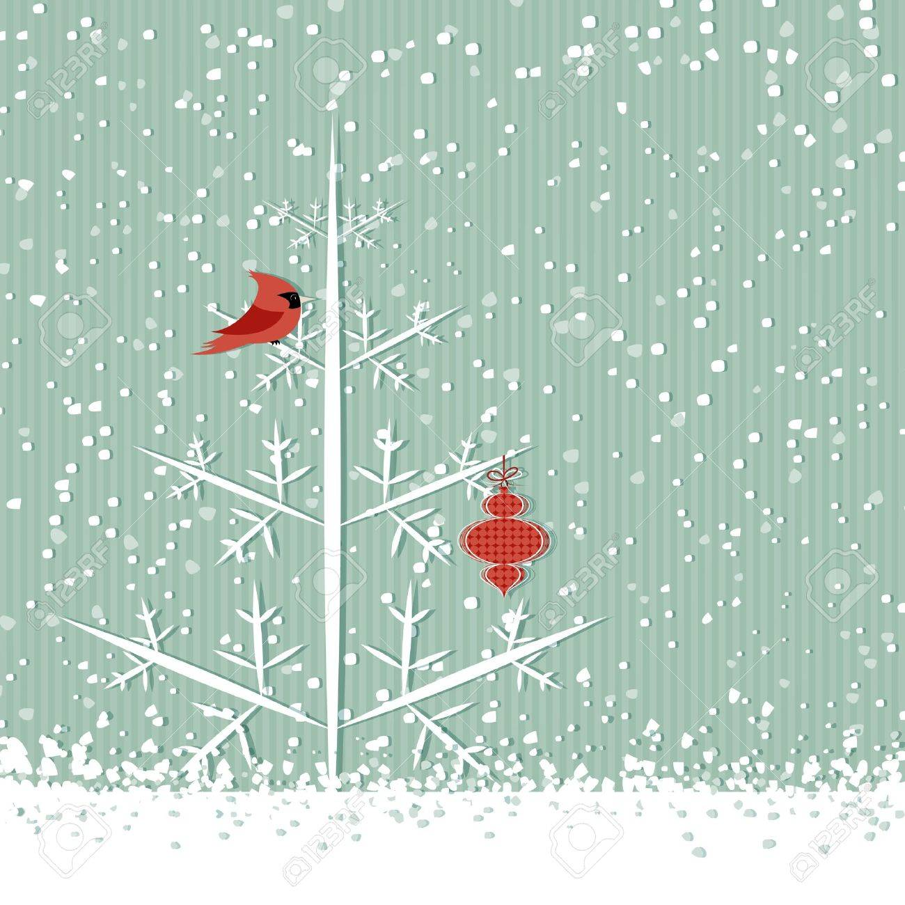 Winter Background With Red Cardinal, Christmas Tree And Decoration ...