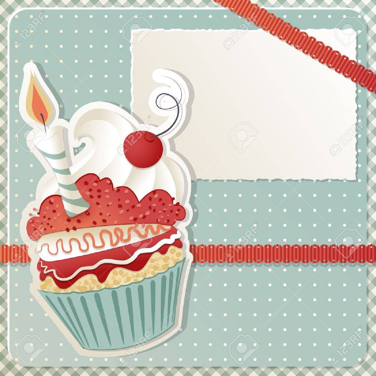 Birthday card with funny cupcake and copy space Stock Vector - 11851445
