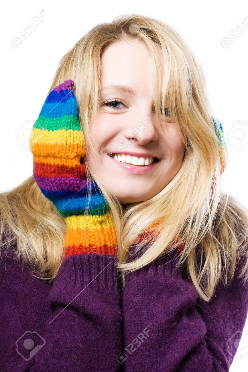 beautiful young woman in colourful gloves (isolated) Stock Photo - 5798487