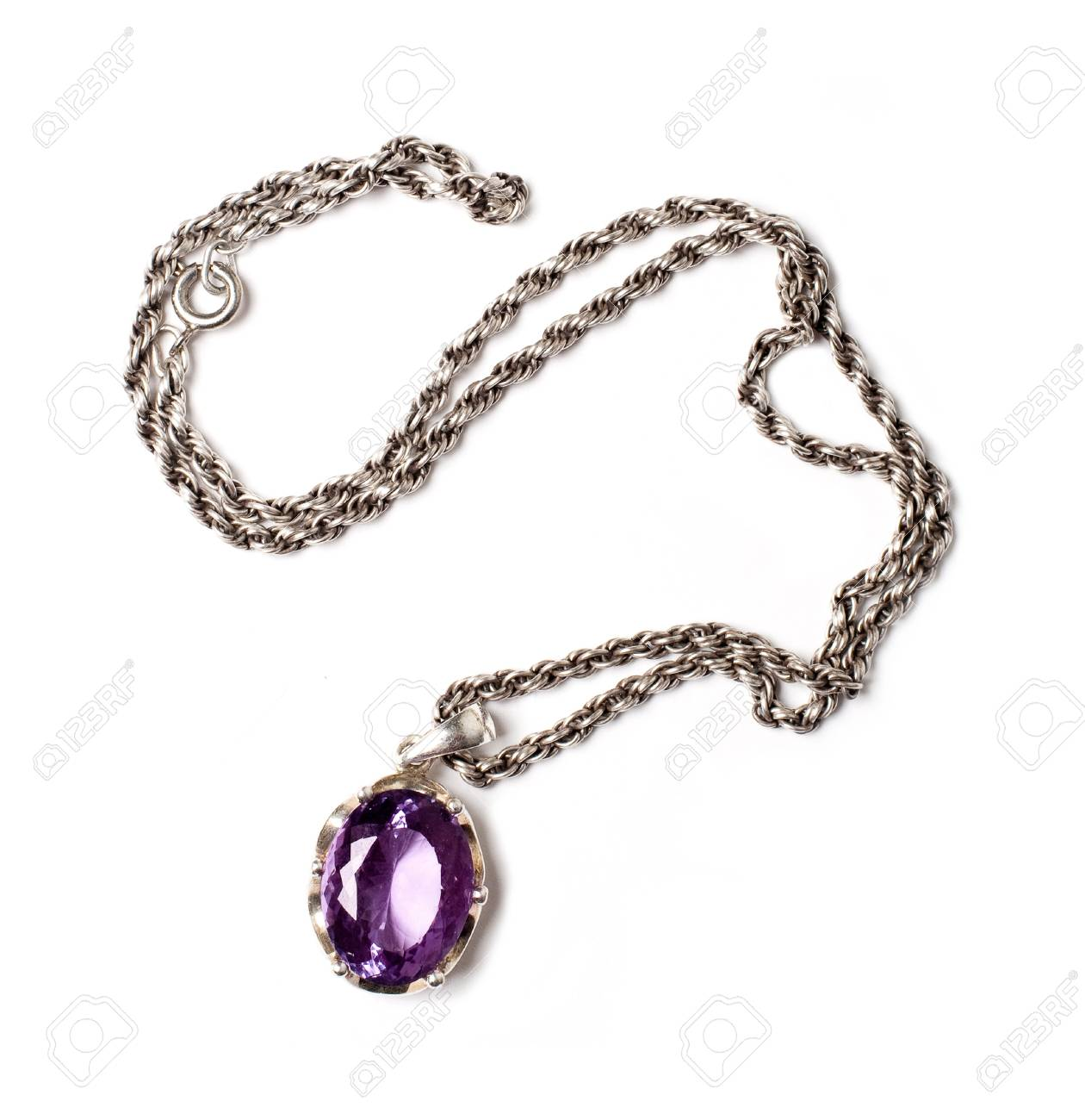 retro antiques pendant with violet stone (isolated on a white) Stock Photo - 8862008