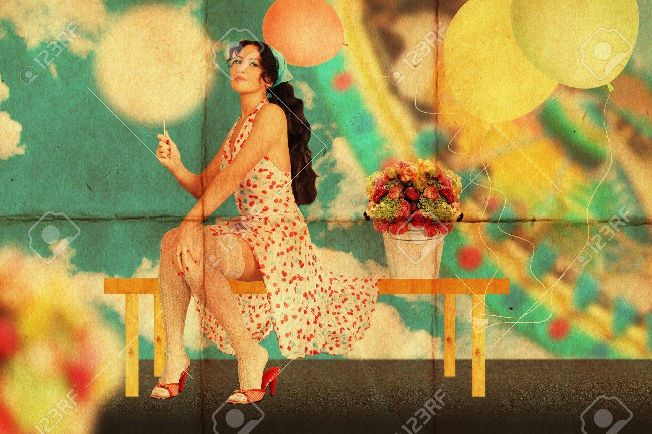 retro postcard with beauty young woman, vintage texture Stock Photo - 8954083