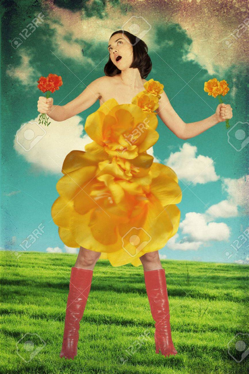 beauty young woman in dress from yellow flowers Stock Photo - 9156445