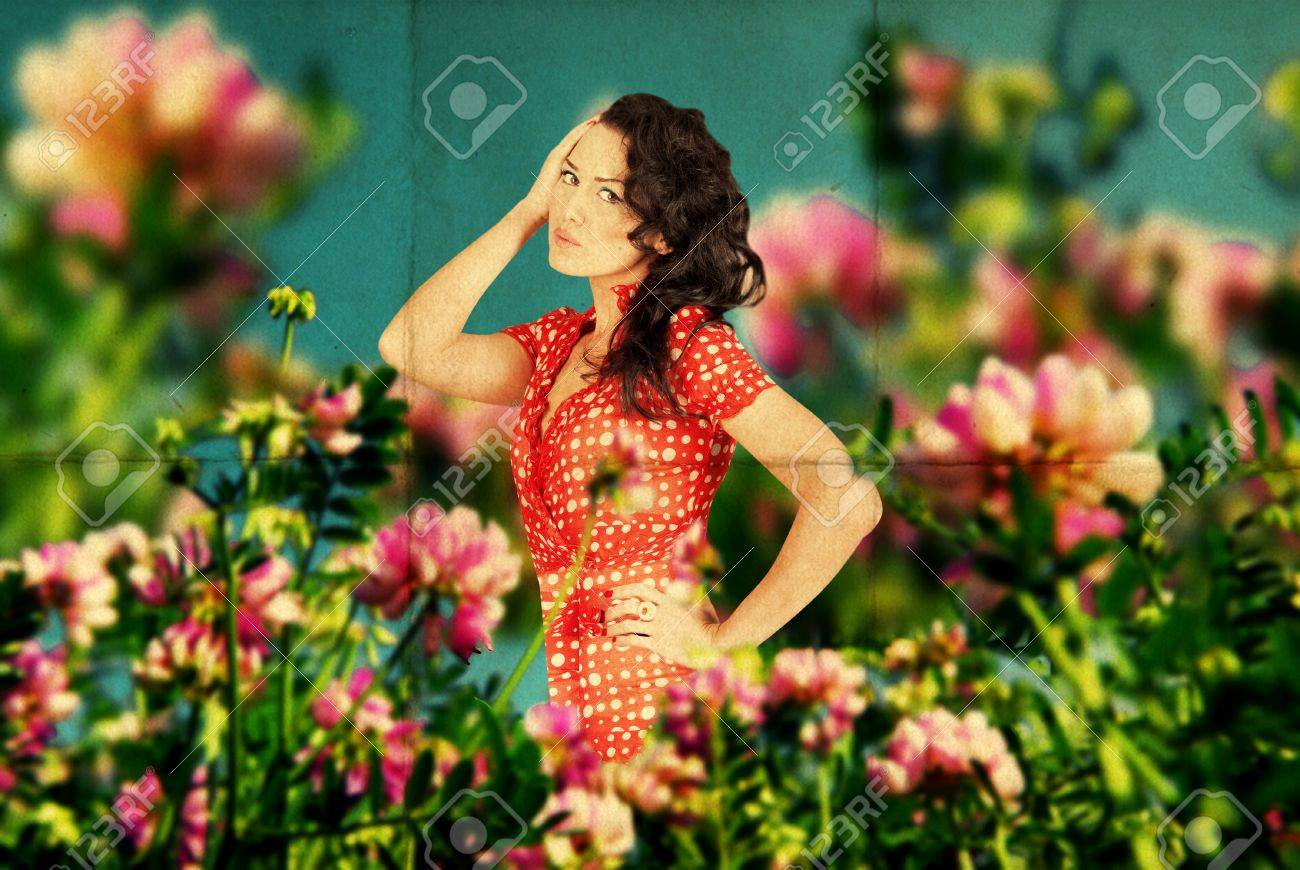fairy image with beauty young woman in the flowers on the meadow Stock Photo - 9157327