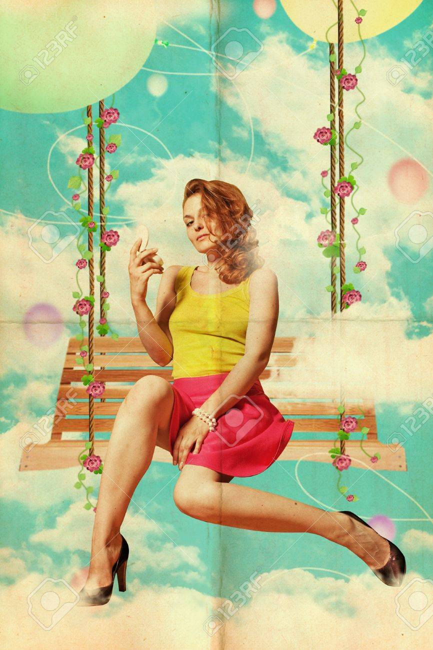 beautiful young woman in clouds, vintage collage Stock Photo - 9877826