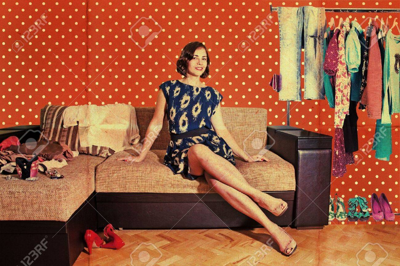 beautiful woman in retro room with fashion clothes, vintage pattern Stock Photo - 9877900