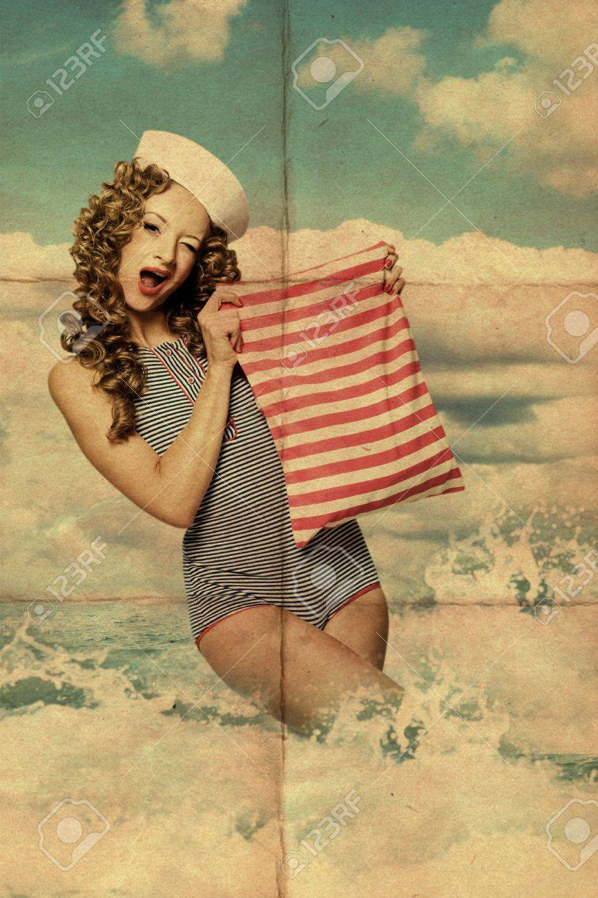 art collage with woman in the sea Stock Photo - 13095362