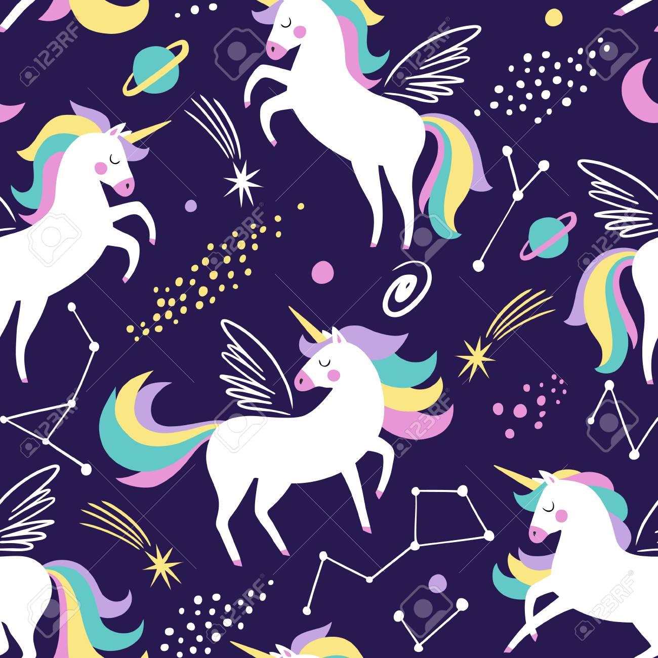 Hand Drawn Seamless Vector Pattern With Cute Unicorns Stars