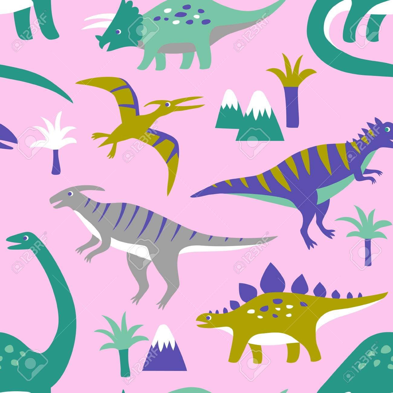 Hand Drawn Seamless Vector Pattern With Cute Dinosaurs Mountains And Palm Trees Repetitive Wallpaper