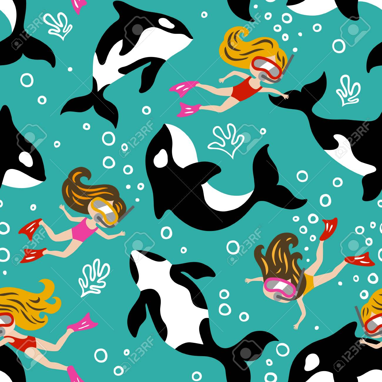hand drawn seamless vector pattern with cute dolphins and diving.. royalty  free cliparts, vectors, and stock illustration. image 103604726.  123rf