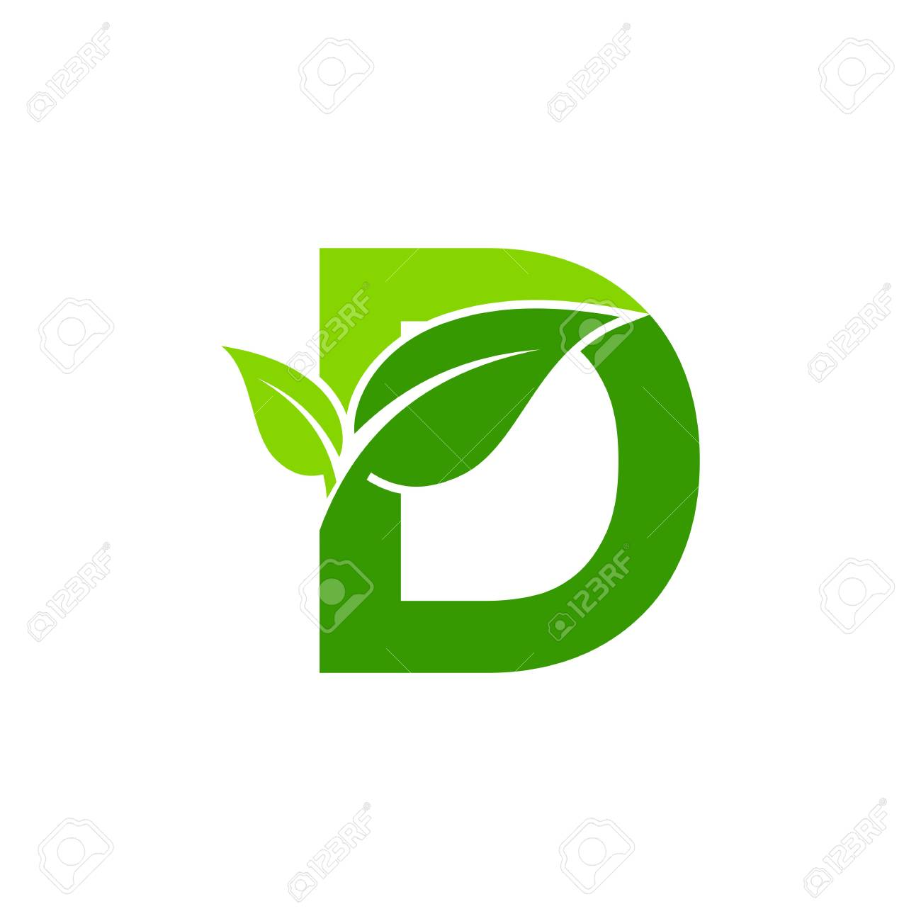 Letter D Concept Nature Green Leaf Symbol Initials Icon Design Stock Vector