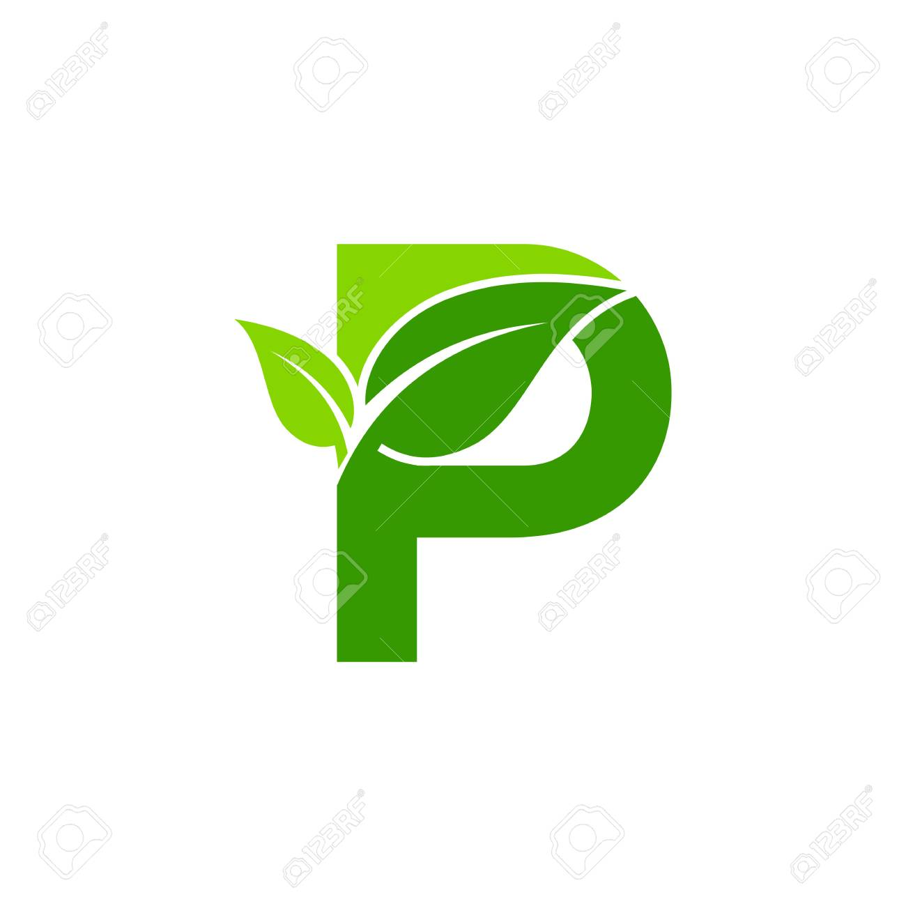 Letter P Concept Nature Green Leaf Symbol Initials P Icon Design