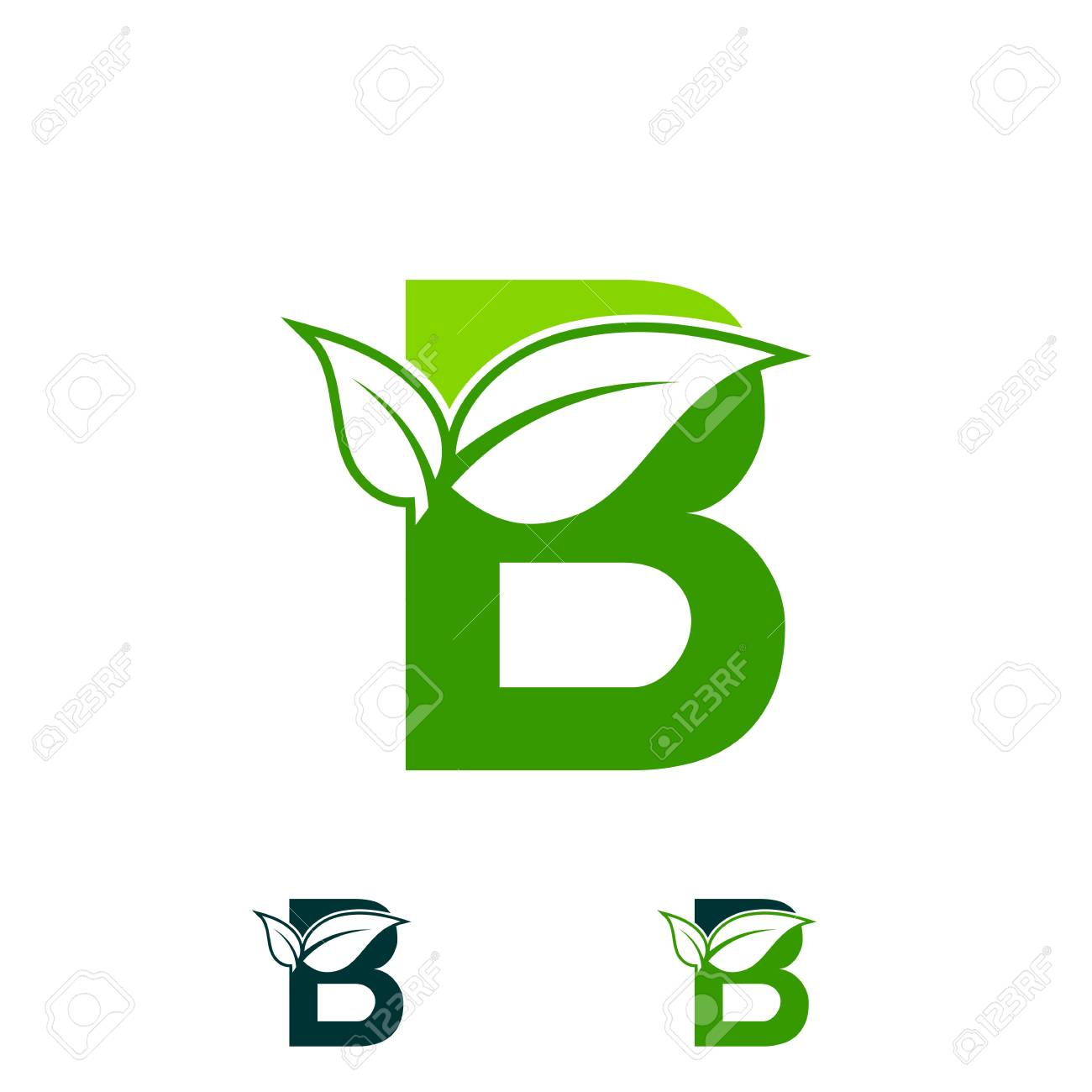 Letter B Logo Concept Nature Green Leaf Symbol Initials B Icon