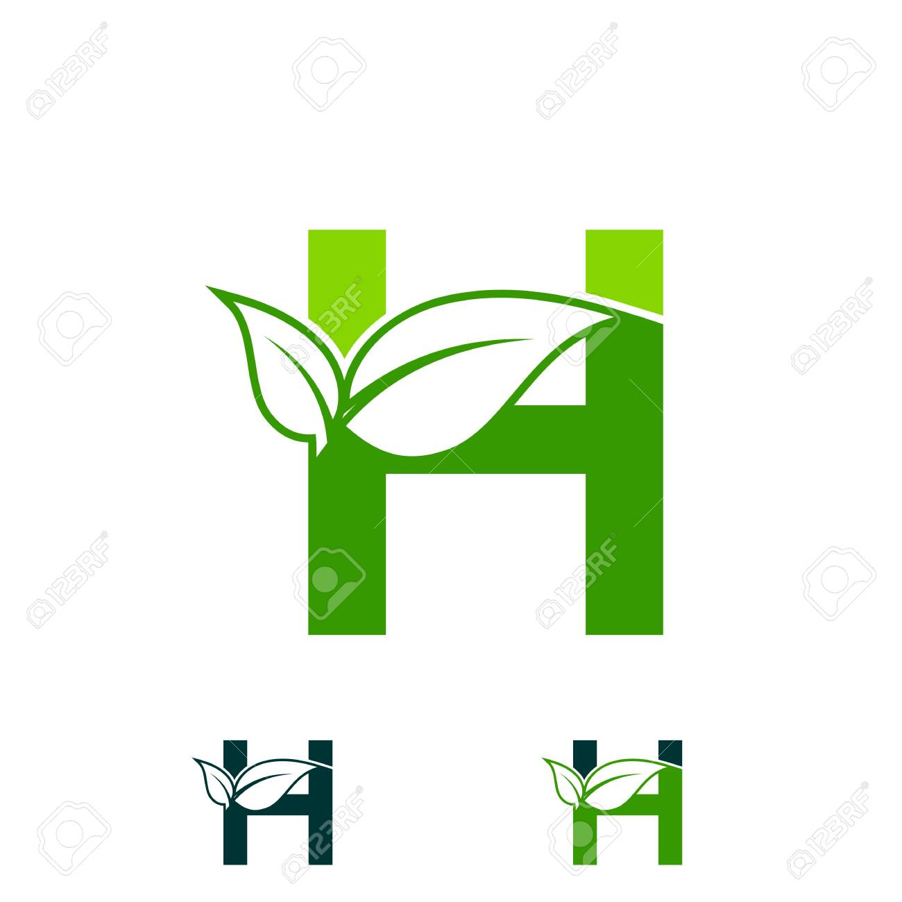 Letter H Logo Concept Nature Green Leaf Symbol Initials H Icon