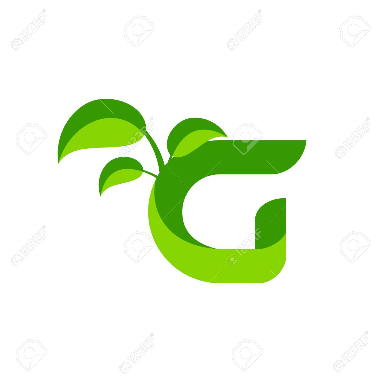Nature Green Leaf Symbol With Initial G Icon Design Royalty Free