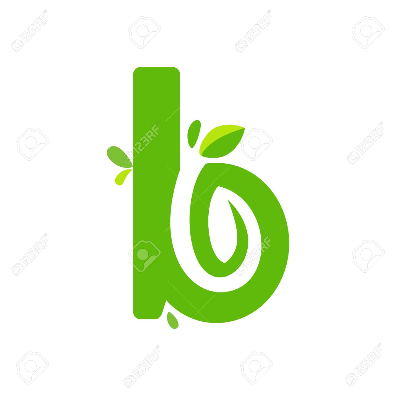 Initials B Icon Logo Design Nature Green Leaf Symbol Royalty Free