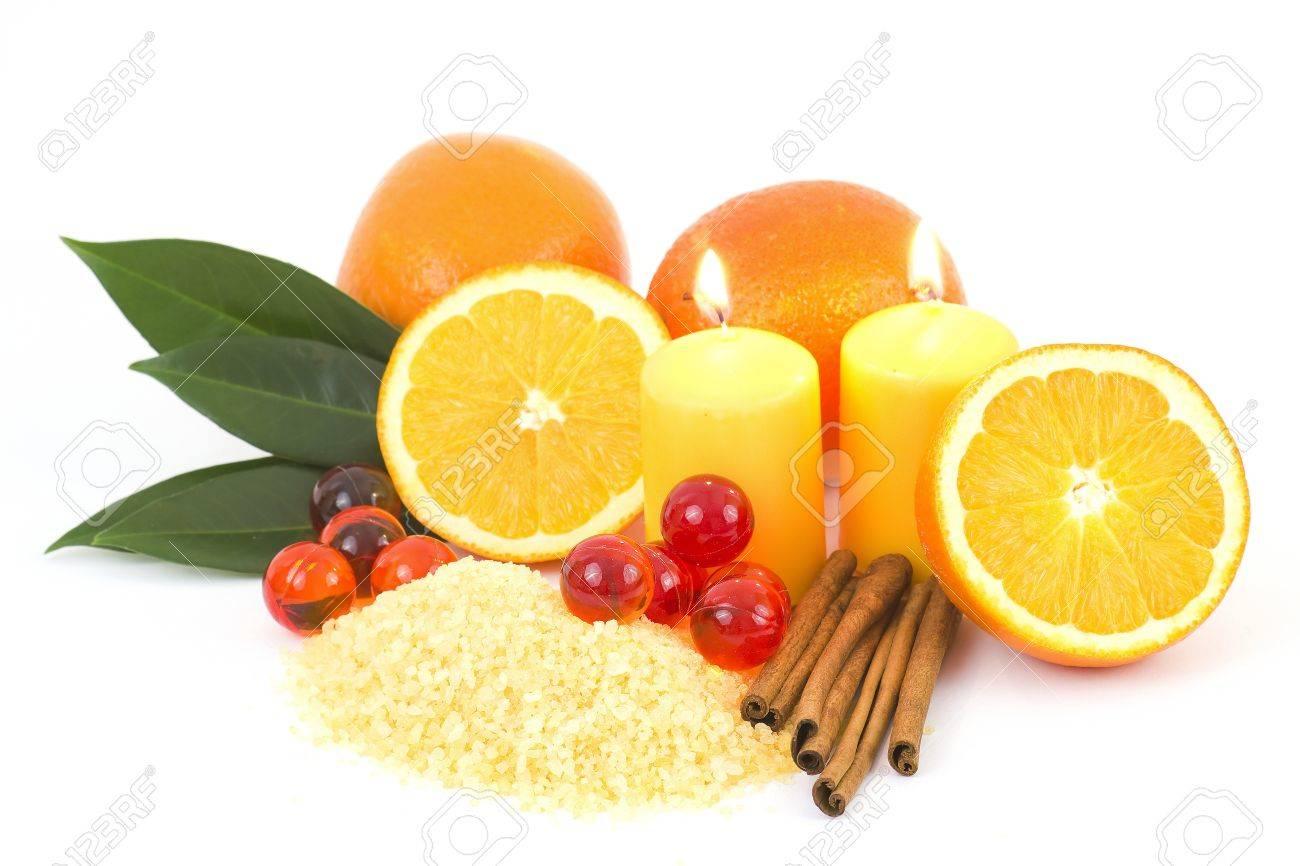 orange bath salt with fresh fruits - beauty treatment - 12705867