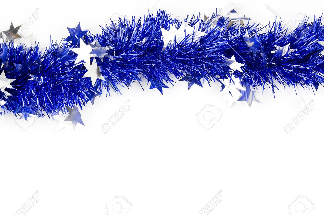 Blue Christmas Garland On A White Background