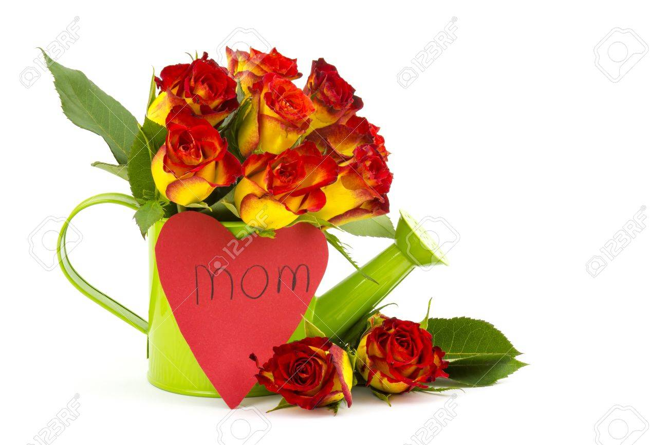 red and yellow roses and heart Stock Photo - 17406883