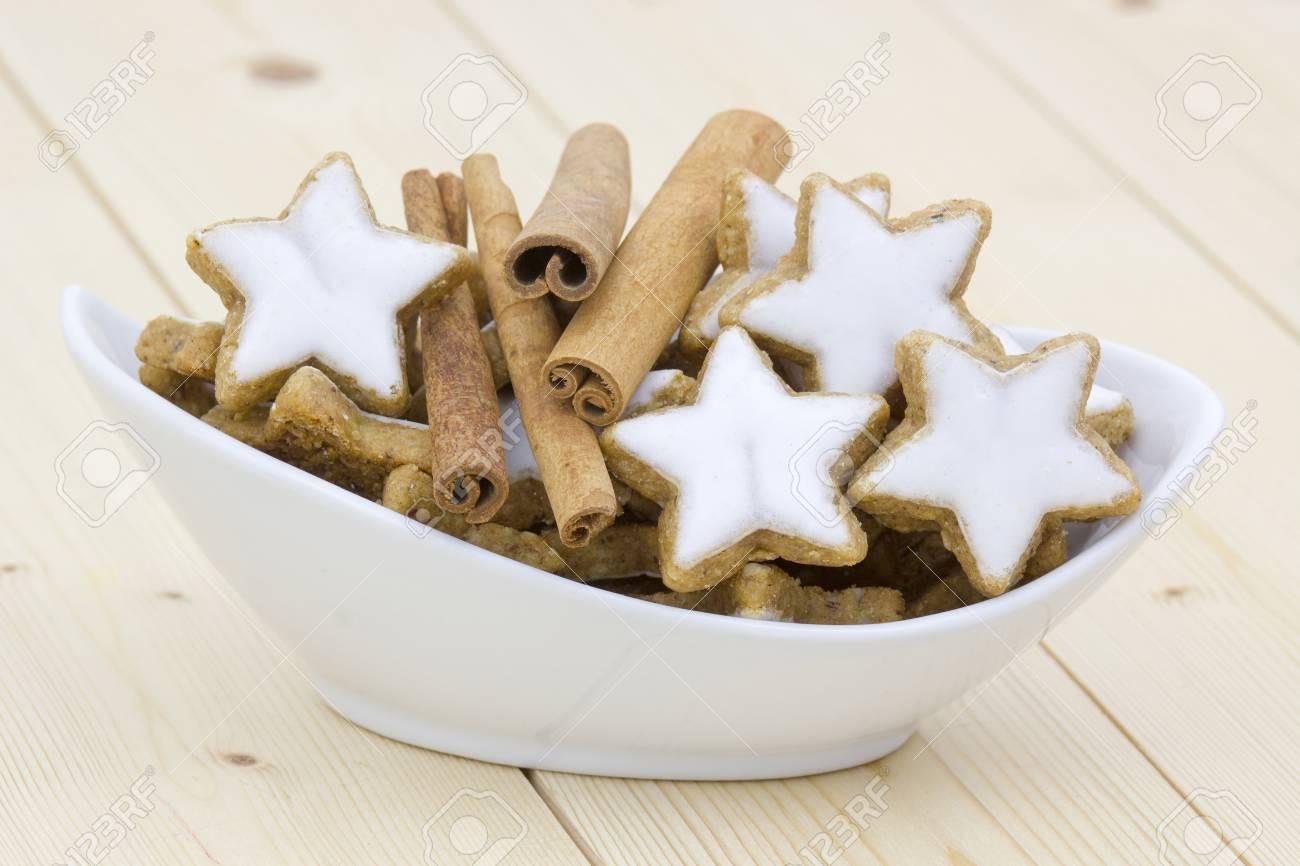 Typical Christmas Cinnamon Star Cookies And Cinnamon Sticks