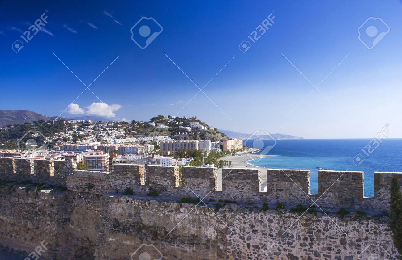 Carte Espagne Andalousie Almunecar.Playa De La Caletilla A Almunecar Vue Depuis Le Chateau De San