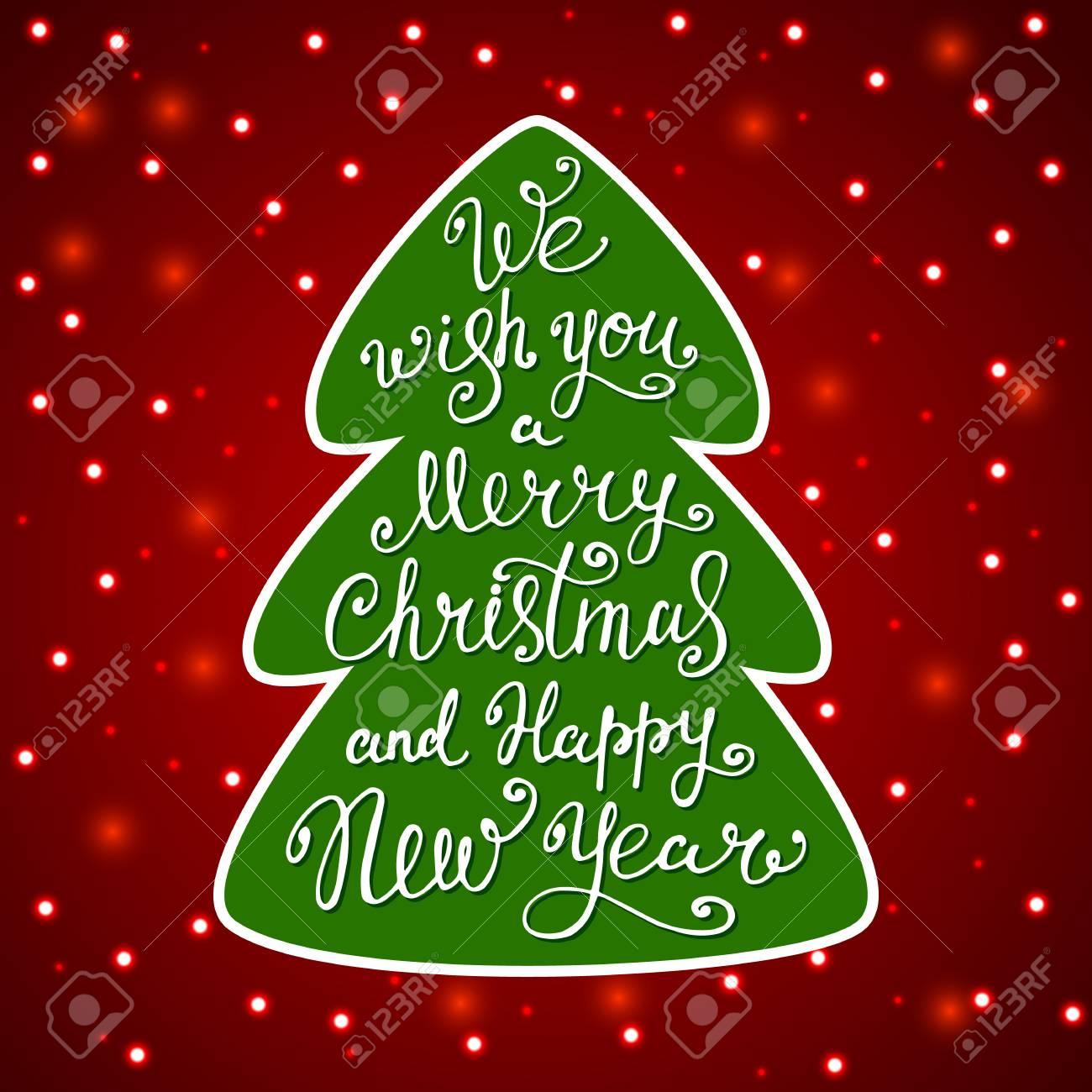 vector we wish you a merry christmas and happy new year in a christmas tree on red background with bokeh light lettering illustration