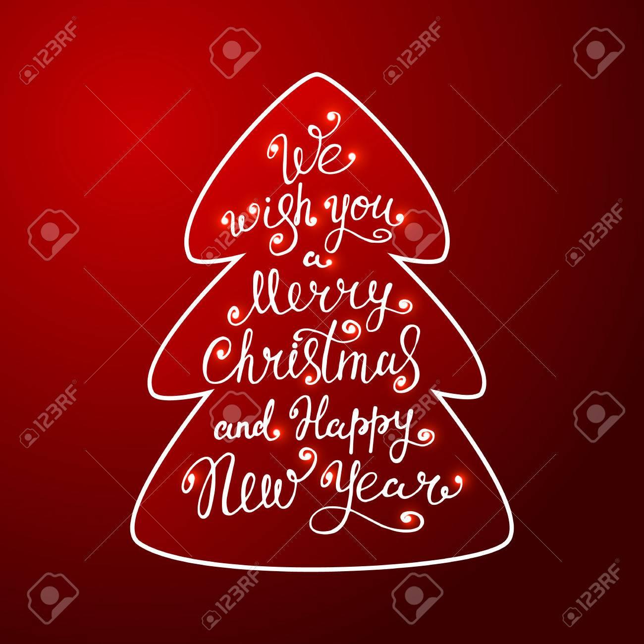 Carte Joyeux Noel A Envoyer Par Mail.Nous Vous Souhaitons Un Joyeux Noel Et Bonne Annee Dans Un Arbre De Noel Sur Fond Rouge Caracteres Illustration Design By Poster Impression