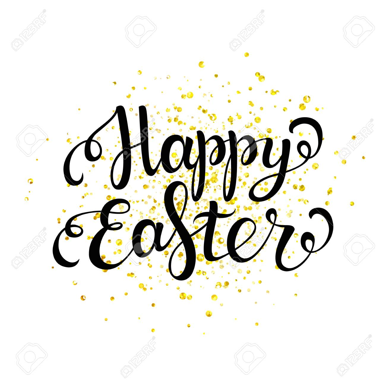 Happy Easter Black Lettering With Gold Spray Happy Easter Card