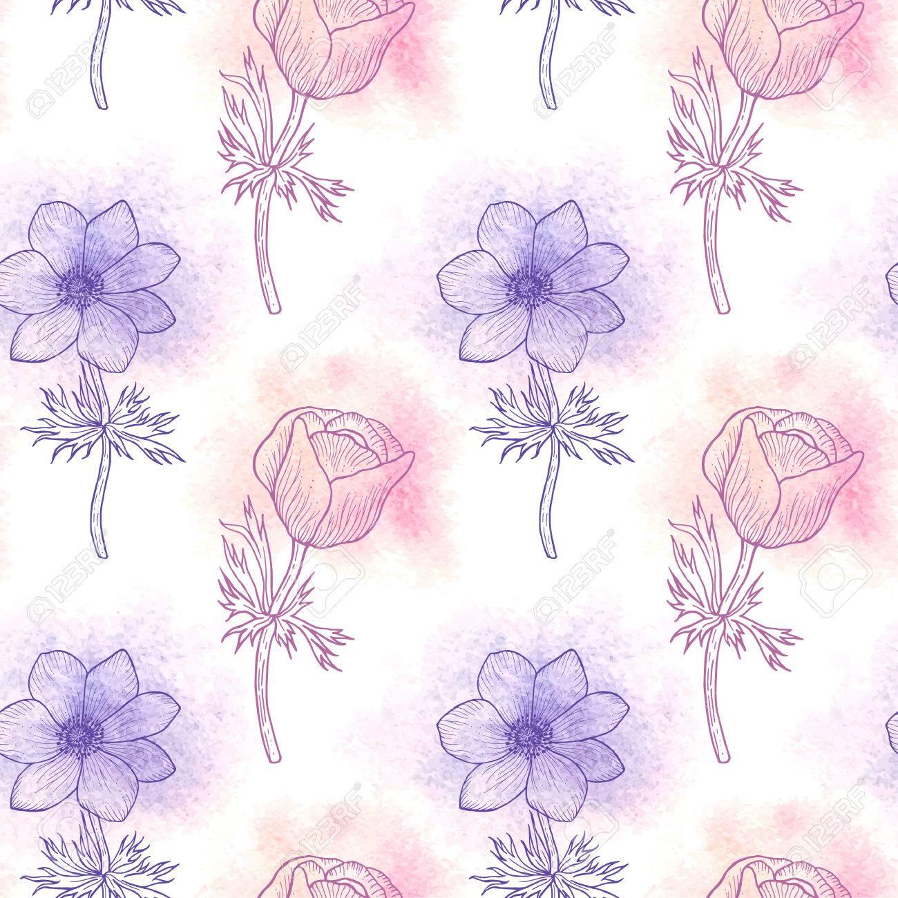 16 年の色 カード 花のシームレスな背景の水彩画の花アネモネのシームレス花柄母の日 結婚式 誕生日 繊維 Web 壁紙 ラッピング ベクトル アネモネのイラスト素材 ベクタ Image
