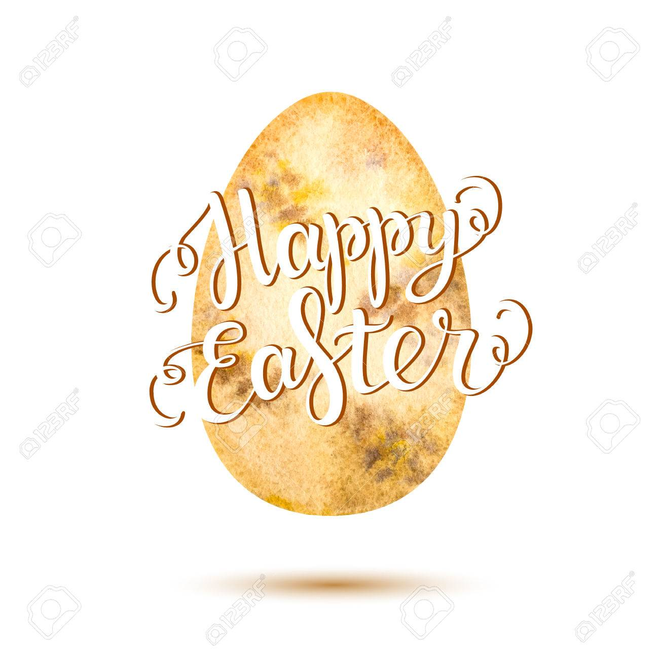 Happy Easter Lettering On Light Yellow Watercolor Egg Happy