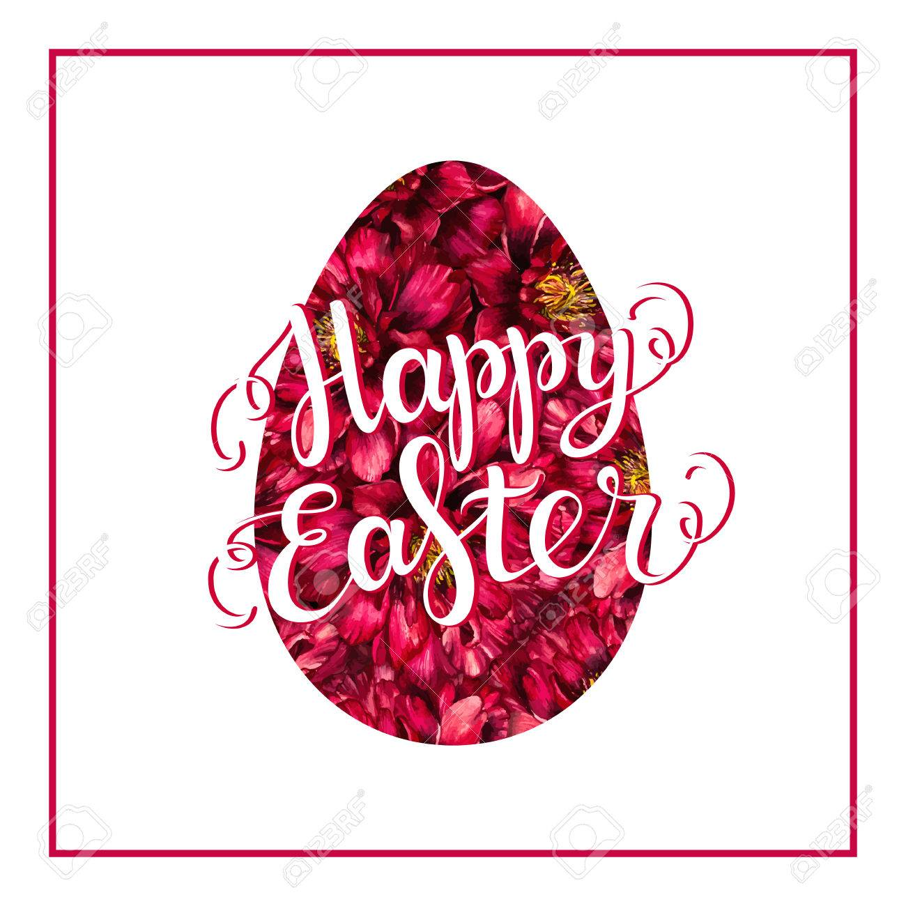 Happy Easter Lettering On Red Watercolor Flower Egg Happy Easter