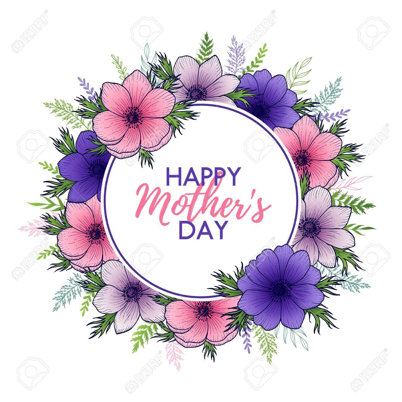 Feliz Día De La Madre Letras Con El Marco Floral Redondo Con Las ...