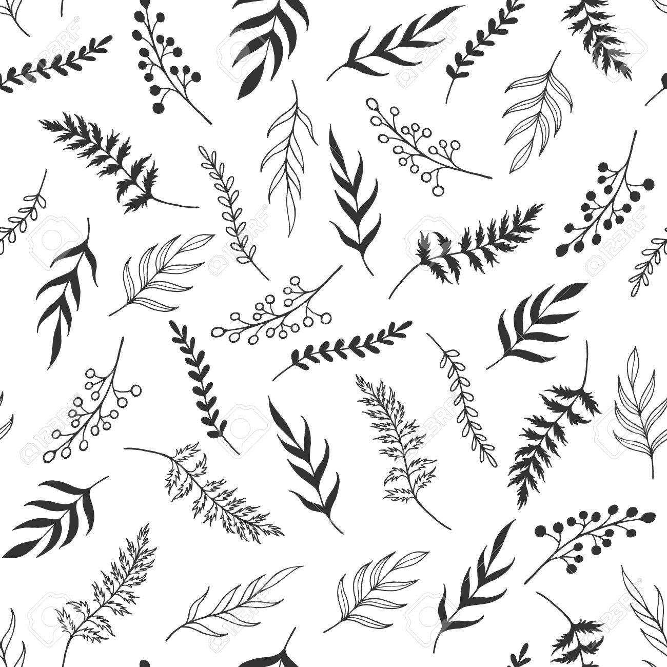 Seamless Pattern Black And White Herb Monochrome Leaves Pattern