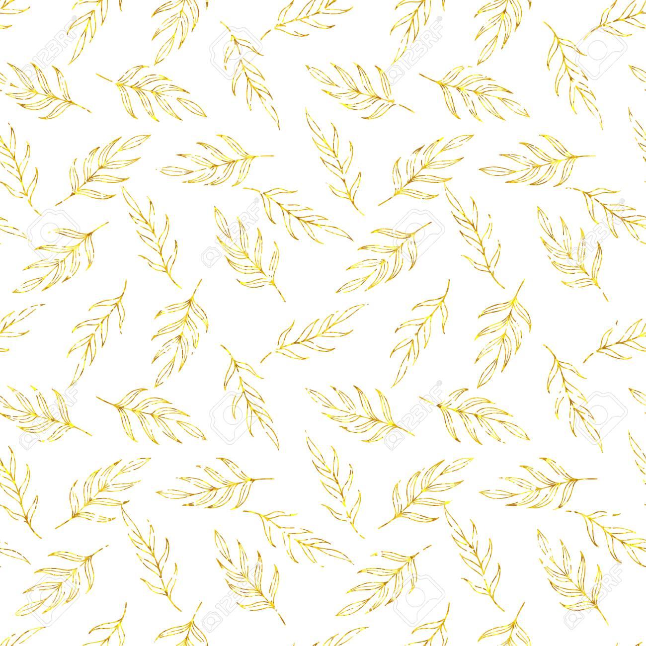Hojas De Purpurina Oro De Patrones Sin Fisuras, Patrón De Glitter ...