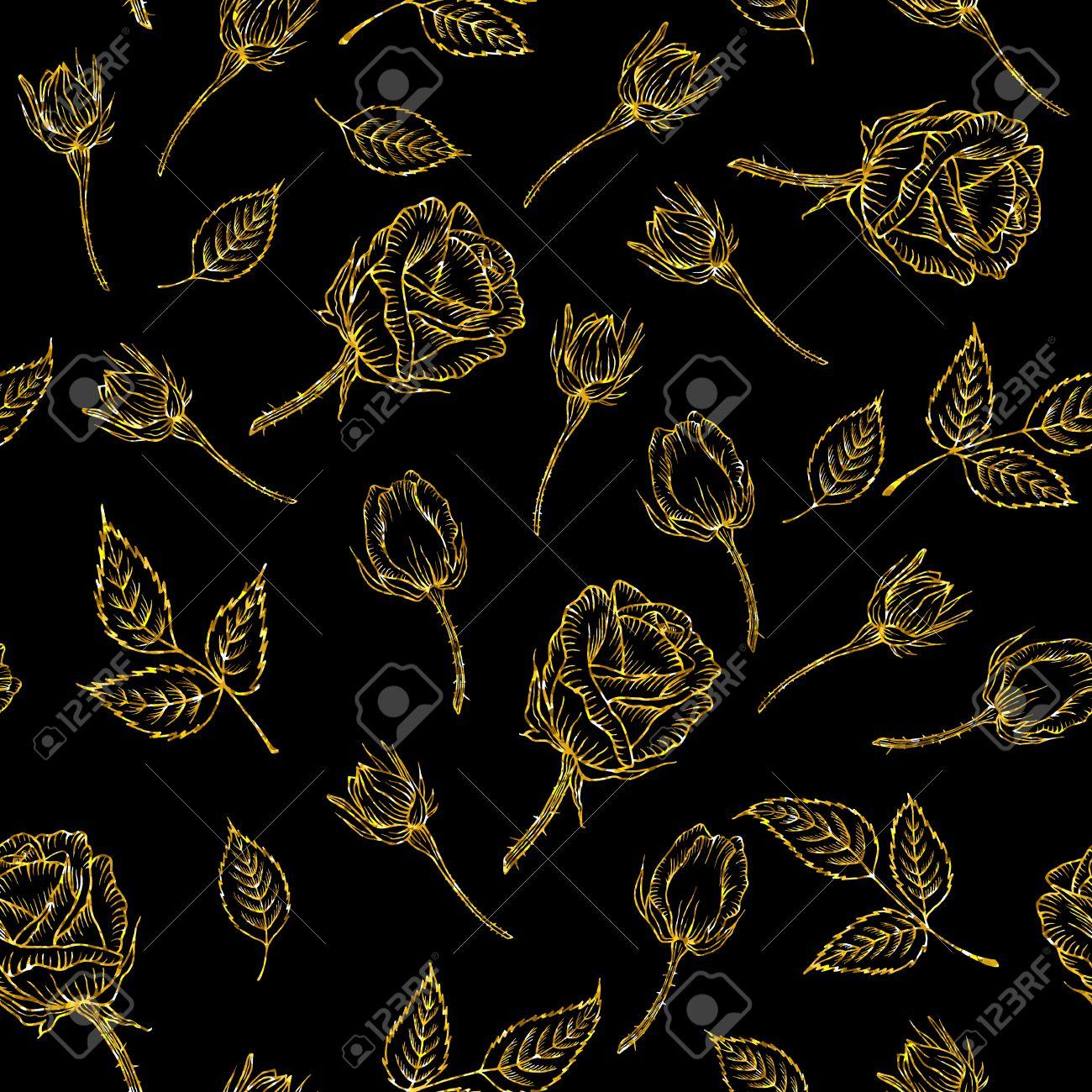 Motif Or Transparente Avec Rose Sur Fond Noir Fleur De Paillettes