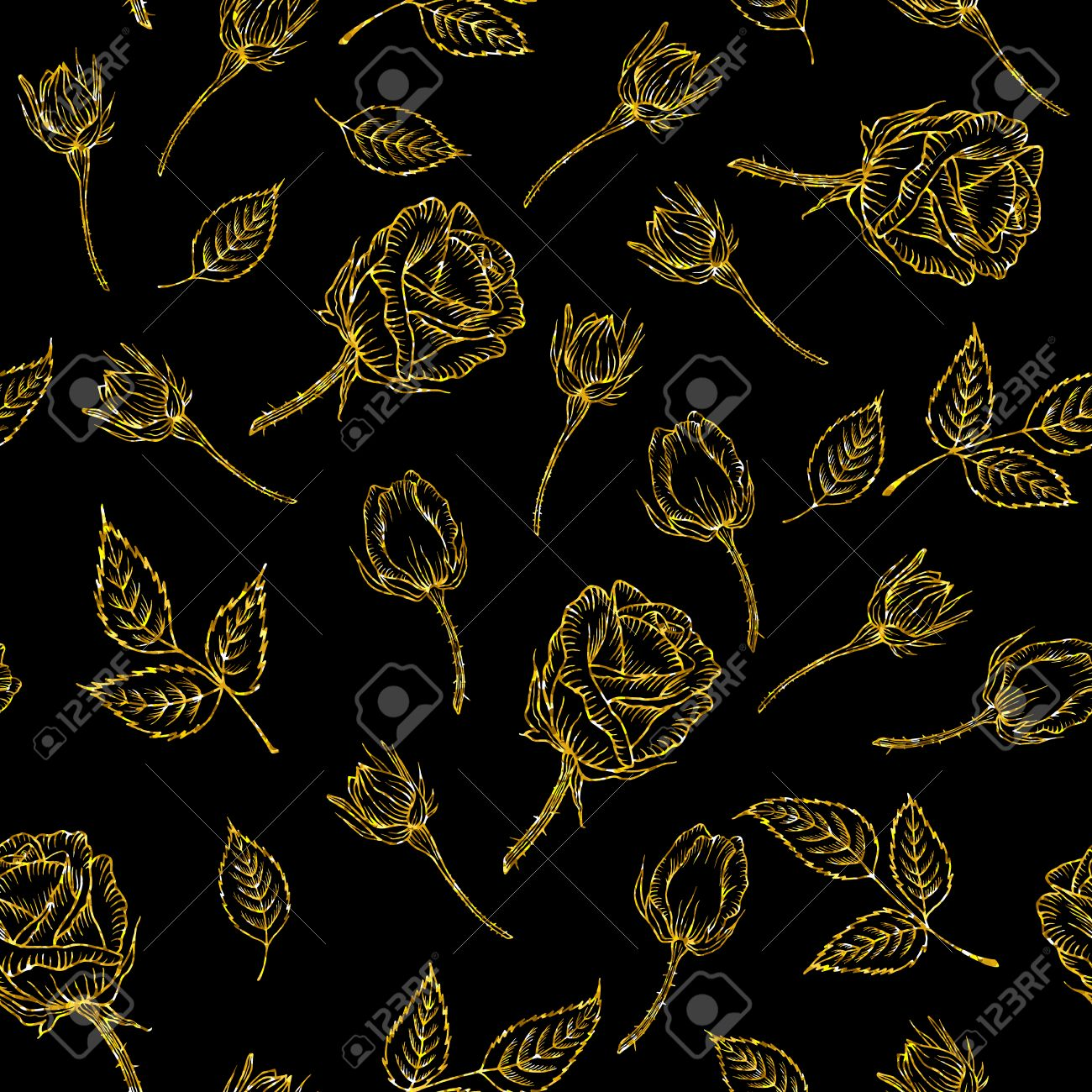 Seamless Gold Pattern With Rose On Black Background Gold Glitter