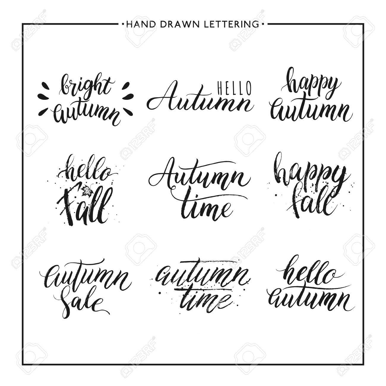Hand Painted Text   Happy Autumn, Hello Fall, Autumn Sale, Vector Autumnal  Lettering