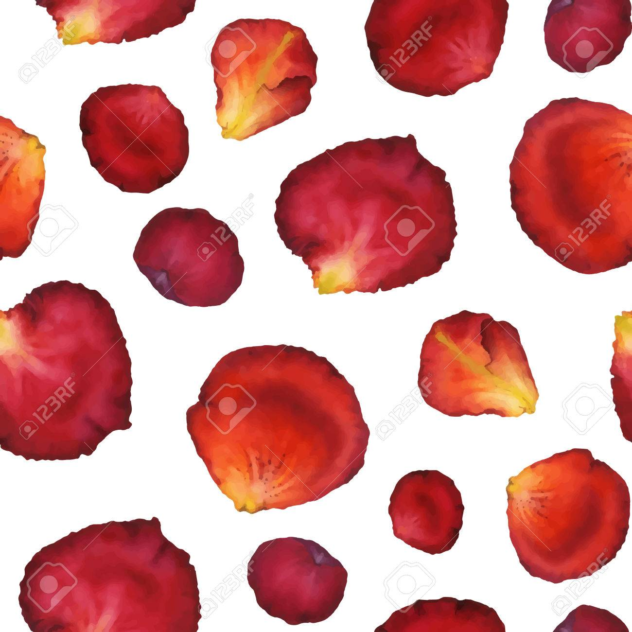 Watercolor Seamless Pattern Of Red Rose Petals Hand Painted