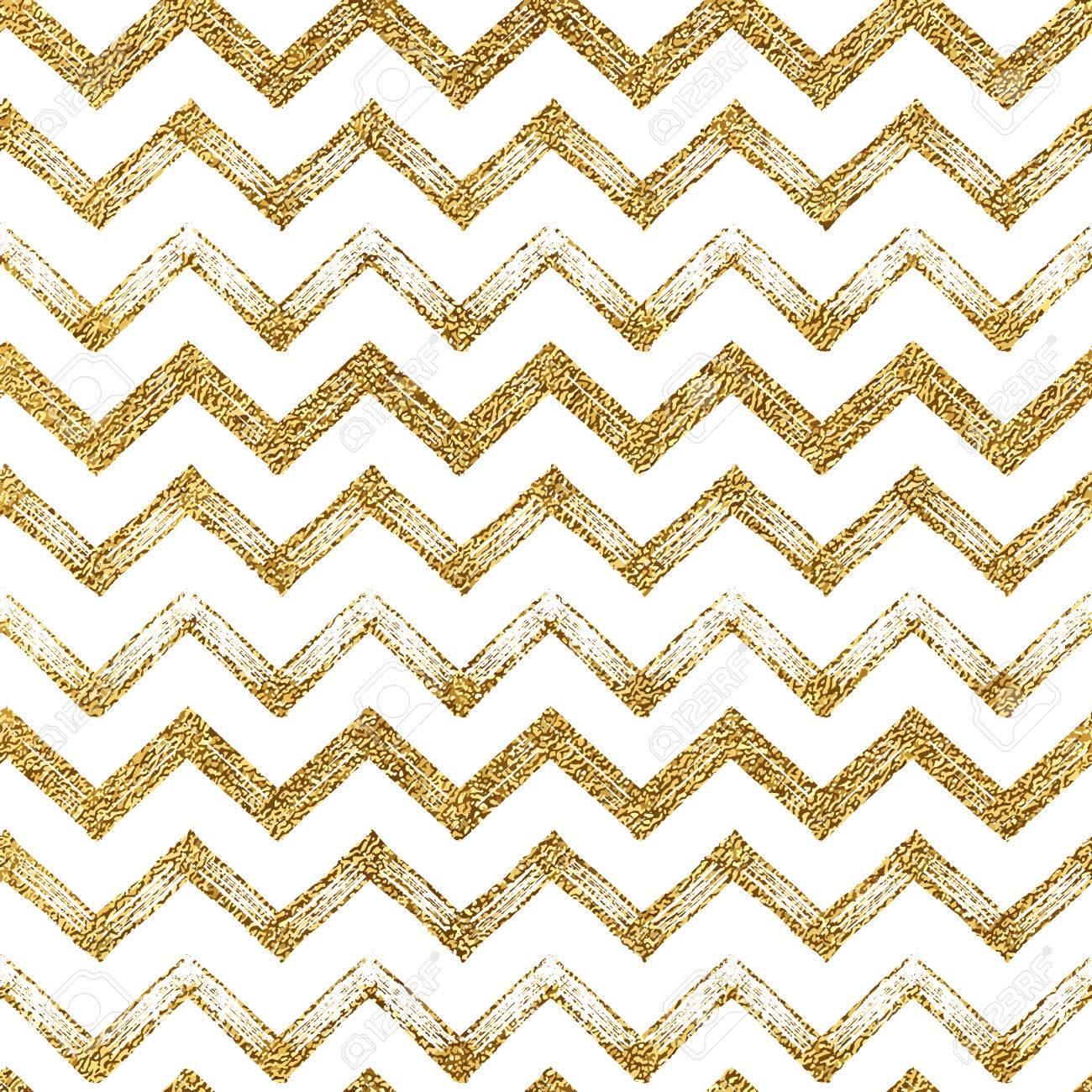 Seamless Pattern Of Gold Glitter Zigzag Chevron Background Golden Zig Zag Stripes